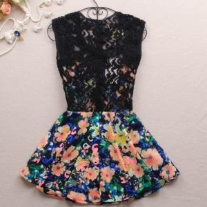 A 080302 Slim dress lace stitching ..