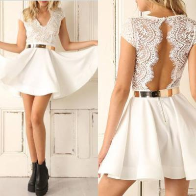 Sexy lace backless short sleeves dress 501SAQ