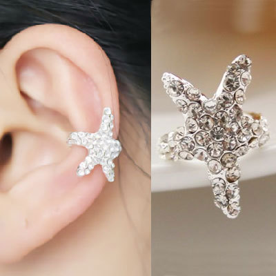 Sparkly Starfish Rhinestone Ear Cuff (Single, No Piercing) AEBGCC