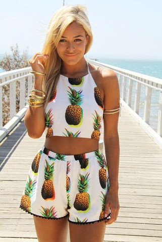 462097303d989c 7513247 SEXY PINEAPPLE PRINTING TWO-PIECE SUIT on Luulla