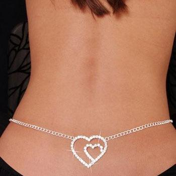 Rhinestone sexy bow heart-shaped waist chain